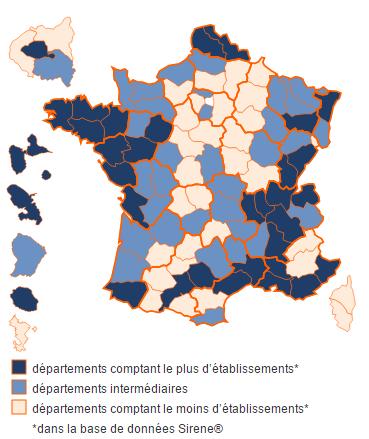 Répartition des entreprises de Fabrication de meubles de cuisine sur le territoire français
